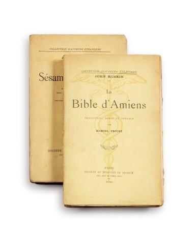 View 3. Thumbnail of Lot 173. La Bible d'Amiens. [Et :] Sésame et les Lys. Les deux exemplaires avec un envoi a.s..
