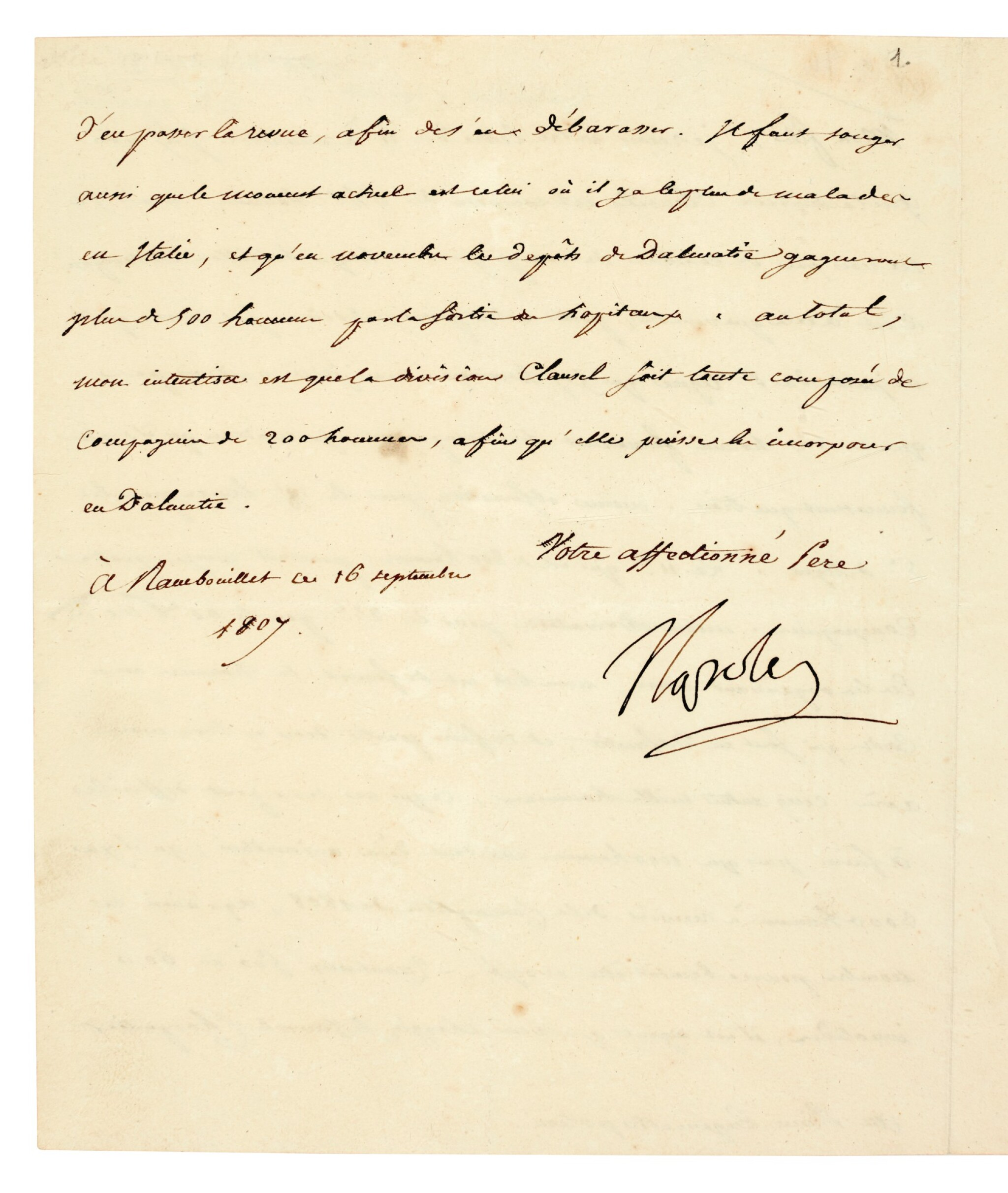 View full screen - View 1 of Lot 88. NAPOLEON I   letter signed, to Eugène de Beauharnais, about troop reinforcements in Dalmatia, 1807.
