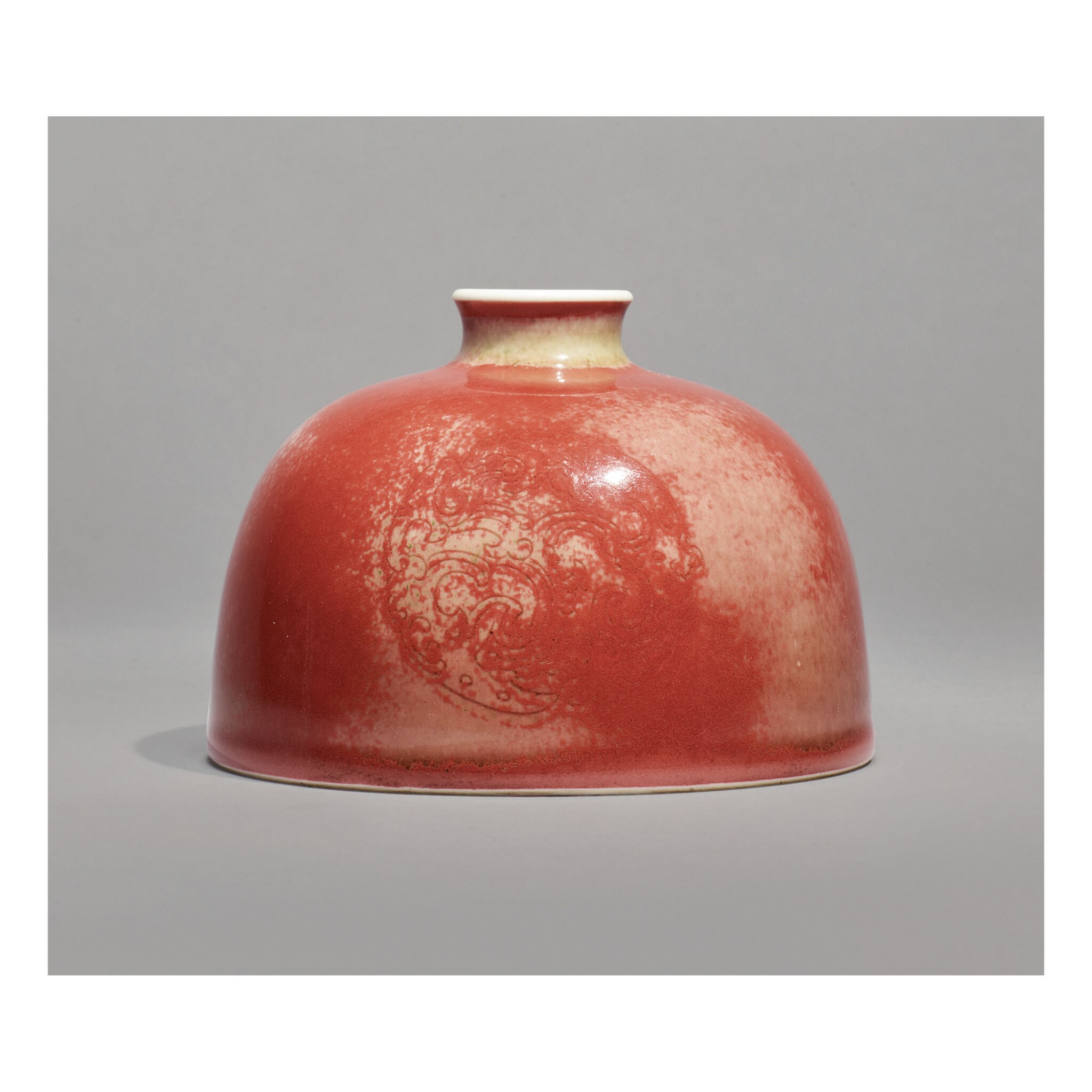 View full screen - View 1 of Lot 115. A PEACHBLOOM-GLAZED 'BEEHIVE' WATERPOT,  KANGXI MARK AND PERIOD.