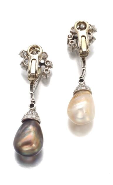 View 3. Thumbnail of Lot 660. Bulgari | Pair of natural pearl and diamond pendent ear clips, circa 1957 | 寶格麗 | 天然珍珠配鑽石耳墜一對,約1957年.