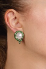 Pair of cultured pearl, tsavorite garnet and ruby ear clips, Michele della Valle