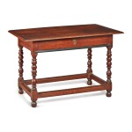 VERY RARE PILGRIM CENTURY TURNED AND JOINED RED GUM AND RED OAK TABLE, NEW YORK, CIRCA 1715