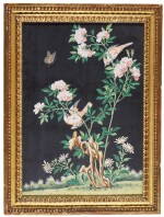 A Chinese Export painting of finches and a butterfly on a rose bush, 19th century