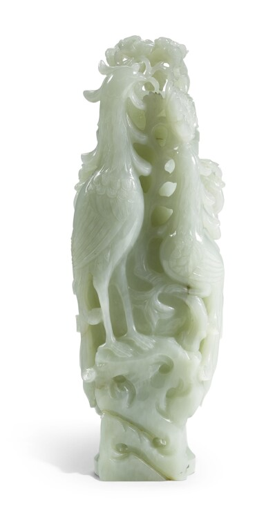 A CELADON JADE 'PHOENIX' VASE AND COVER | QING DYNASTY/ EARLY REPUBLICAN PERIOD [TWO ITEMS]