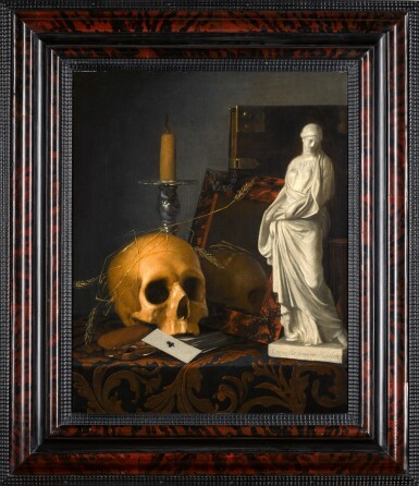 View 2. Thumbnail of Lot 287. CORNELIS VAN DER MEULEN | VANITAS STILL LIFE WITH A SKULL, A GUTTERING CANDLE, A TORTOISESHELL MIRROR, A BOOK, A STATUETTE OF SAINT SUSANNA, AND A PACK OF CARDS.
