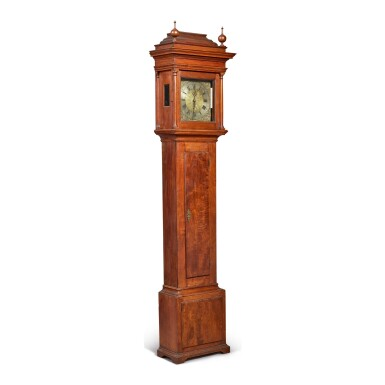 RARE WILLIAM AND MARY FIGURED WALNUT TALL-CASE CLOCK, WORKS BY AUGUSTINE NEISSER, GERMANTOWN, PENNSYLVANIA, CIRCA 1740