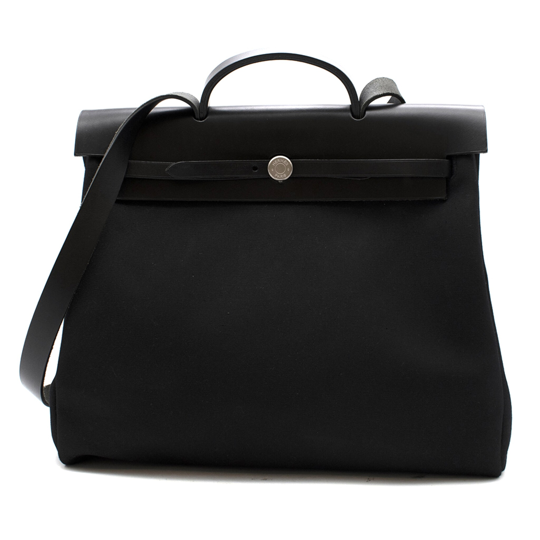 View full screen - View 1 of Lot 113. HERMÈS | BLACK HERBAG MM 2-IN-1 IN HUNTER COWHIDE WITH PALLADIUM HARDWARE, 1999.