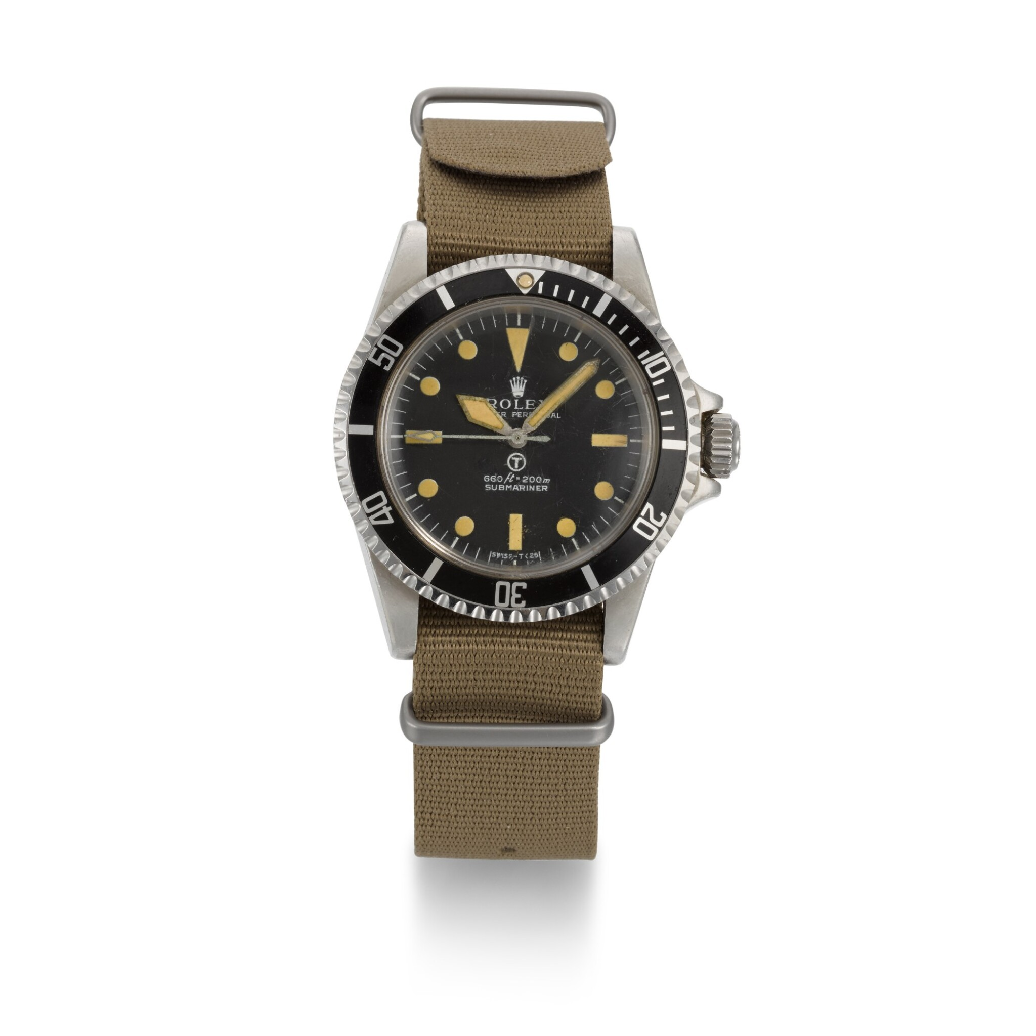 View full screen - View 1 of Lot 375. ROLEX | A RARE STAINLESS STEEL CENTRE SECONDS WRISTWATCH MADE FOR THE BRITISH MILITARY, REF 5513 NO 3826463 SUBMARINER, MADE AND ISSUED 1974.