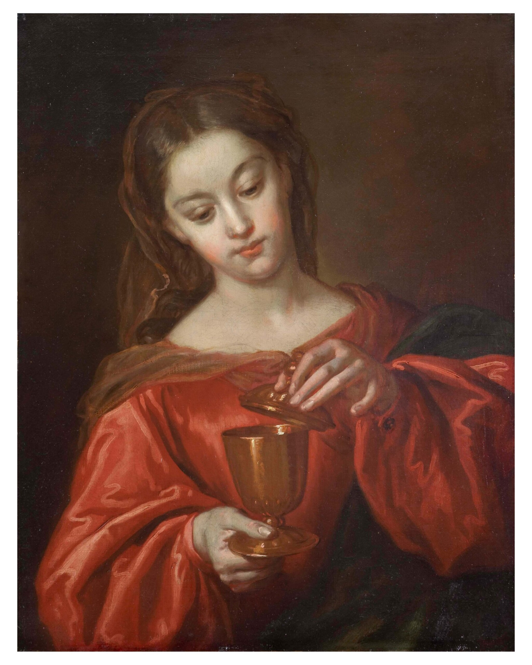 View full screen - View 1 of Lot 14. JUAN MARTÍN CABEZALERO     MARY MAGDALENE HOLDING A JAR OF OINTMENT.