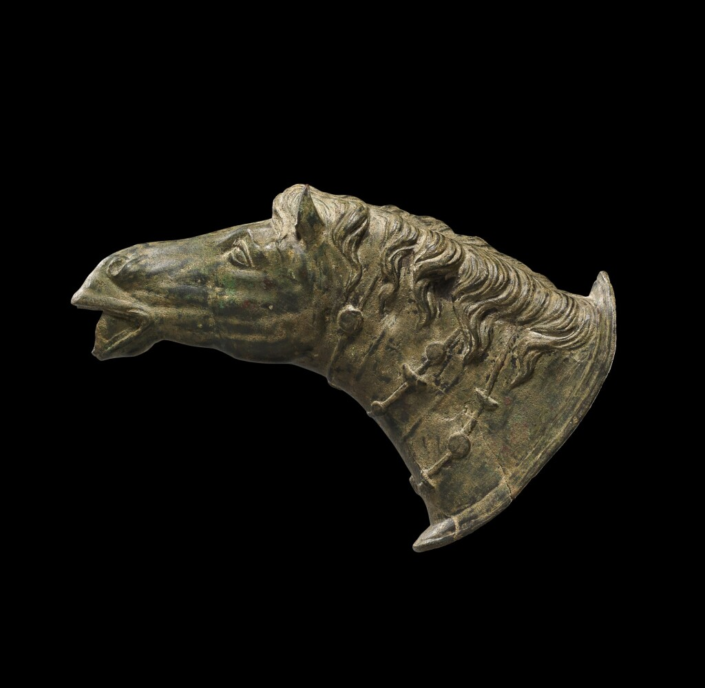 A ROMAN BRONZE HORSE HEAD WATERSPOUT, CIRCA 2ND CENTURY A.D.