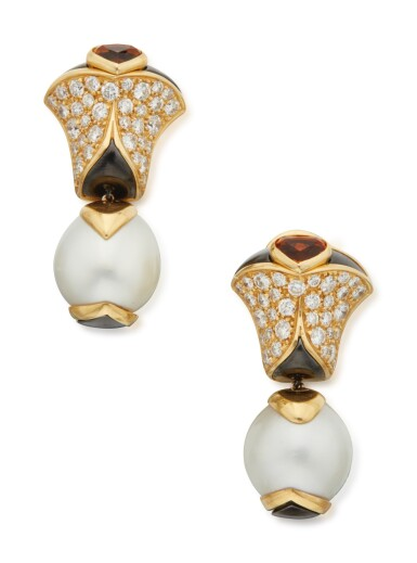 PAIR OF CULTURED PEARL, CITRINE AND DIAMOND EARCLIPS, MARINA B, FRANCE