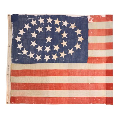 View 1. Thumbnail of Lot 556. Flag: A 31-star American national flag said to have been used in the 1860 campaign of Abraham Lincoln, 1850–1858 1850–1858.