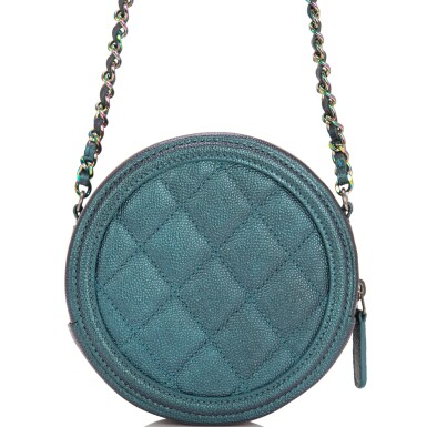View 4. Thumbnail of Lot 118. Chanel Iridescent Dark Turquoise Caviar Round Mini Crossbody Bag.