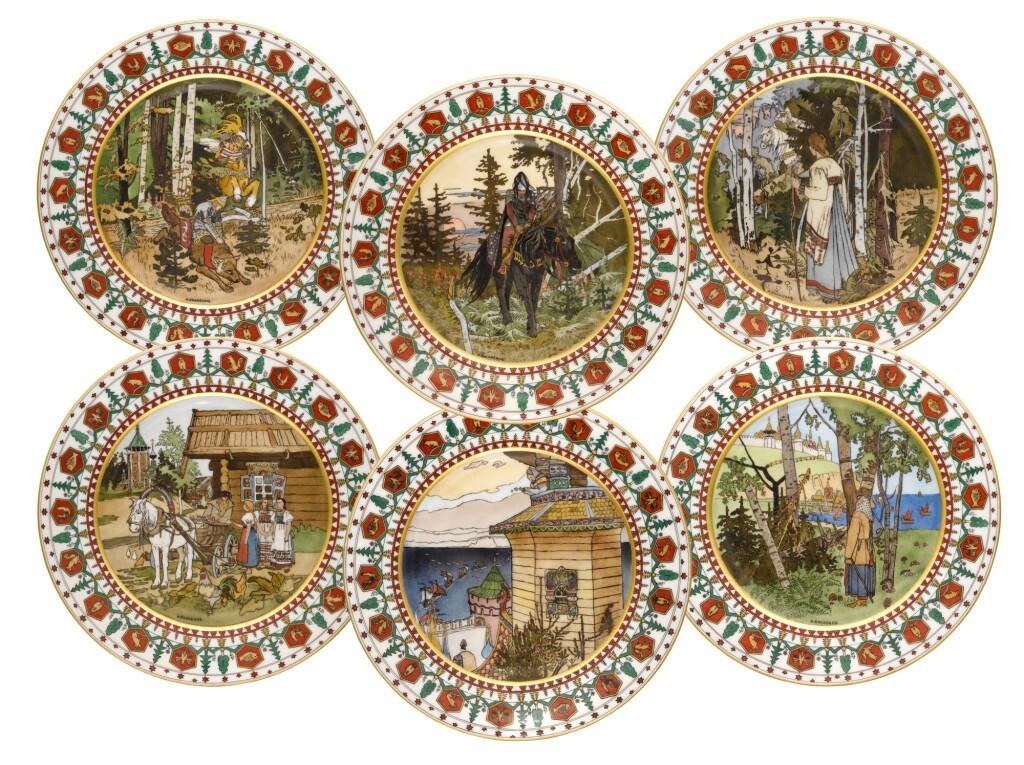 A GROUP OF SIX PORCELAIN PLATES, KORNILOV BROTHERS PORCELAIN FACTORY, ST PETERSBURG, 1884-1917