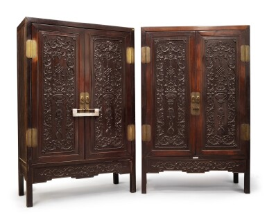 View 3. Thumbnail of Lot 1043. A PAIR OF CARVED 'HONGMU' SQUARE-CORNER CABINETS, LATE 19TH / EARLY 20TH CENTURY.