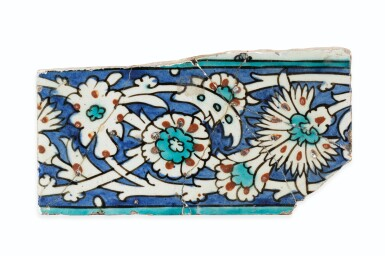 View 12. Thumbnail of Lot 130. A Group of Four Ottoman Iznik and Damascus Pottery Tiles, Turkey and Syria, 16th and 17th Centuries.
