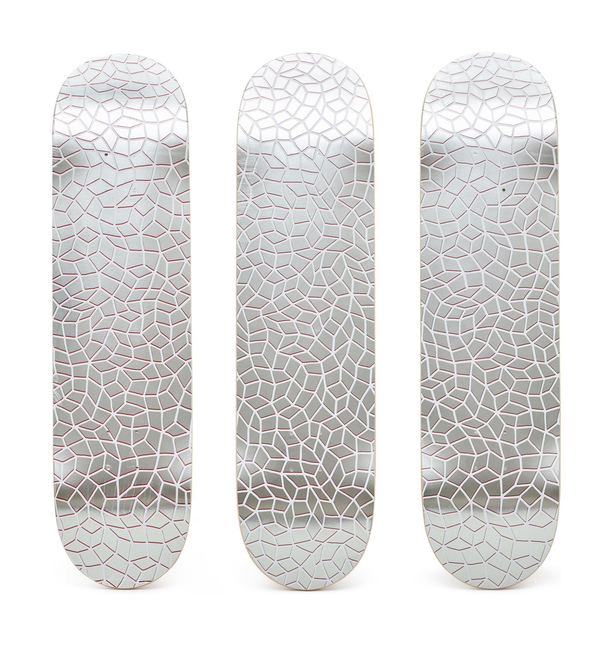 View full screen - View 1 of Lot 9003.  草間彌生 Yayoi Kusama | 無限網滑板(三聯作) Infinity Nets Skateboard (triptych).