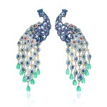 CHOPARD | PAIR OF GEM SET AND DIAMOND PENDENT EAR CLIPS, 'PAONS' FROM THE ANIMAL WORLD COLLECTION