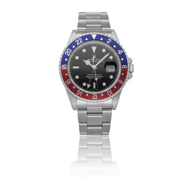ROLEX | GMT-MASTER II REF 16710, A STAINLESS STEEL AUTOMATIC DUAL TIME ZONE WRISTWATCH WITH DATE AND BRACELET CIRCA 1999