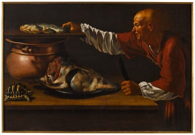 View 2. Thumbnail of Lot 121. A kitchen interior with a sturgeon, a turtle, and the figure of an old man in red.