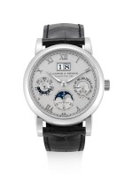 A. LANGE & SÖHNE | SAX-O-MAT LANGEMATIK PERPETUAL, REFERENCE 310.025FE, A PLATINUM PERPETUAL CALENDAR WRISTWATCH WITH MOON PHASES, 24 HOURS, LEAP YEAR INDICATION AND ZERO-RESET MECHANISM, CIRCA 2008