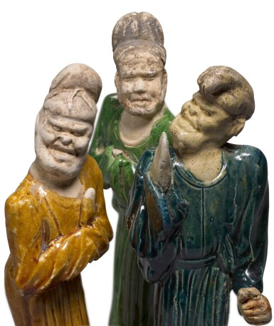 View 2. Thumbnail of Lot 223. THREE POTTERY FIGURES OF FOREIGNERS, TANG DYNASTY | 唐 胡人陶俑一組三件.
