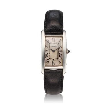 View 1. Thumbnail of Lot 222. Tank Cintrée A rare platinum and yellow gold rectangular wristwatch, Circa 1925 .