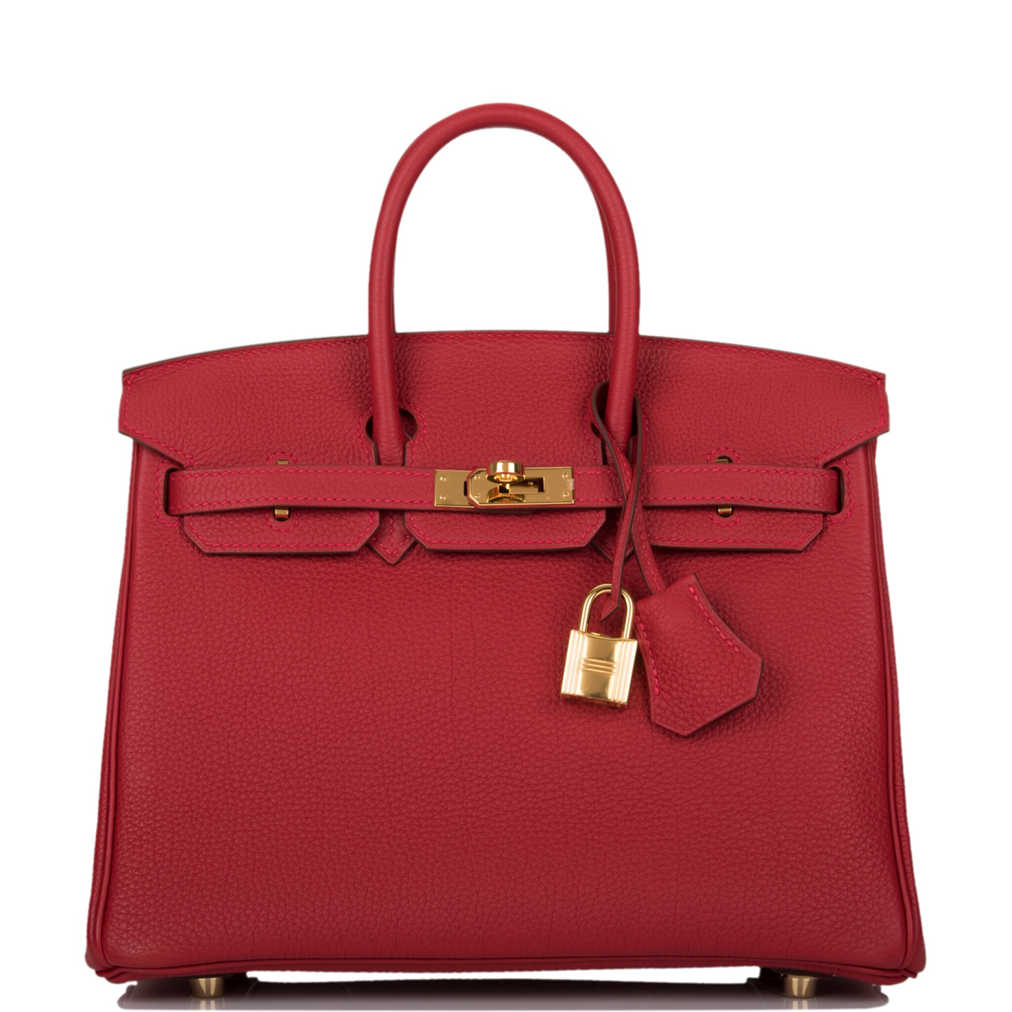 View full screen - View 1 of Lot 21. HERMÈS   ROUGE VIF BIRKIN 25CM OF TOGO LEATHER WITH GOLD HARDWARE.