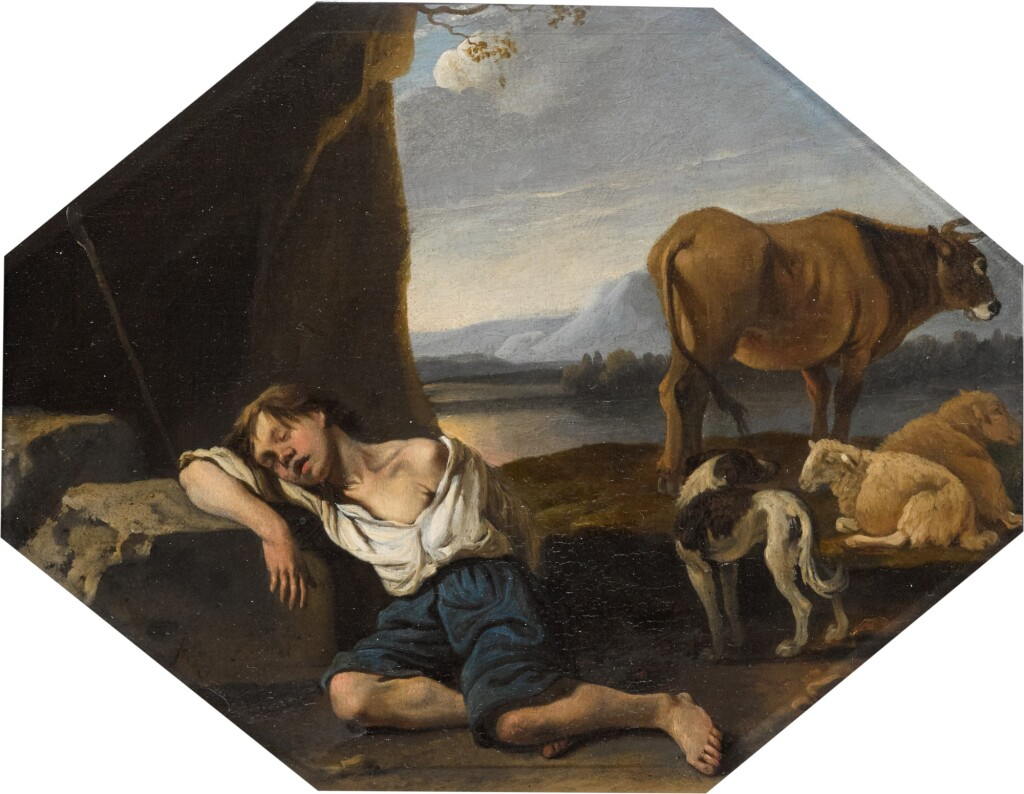 KAREL DUJARDIN | A young shepherd asleep, surrounded by his sheepdog, his sheep and his cow