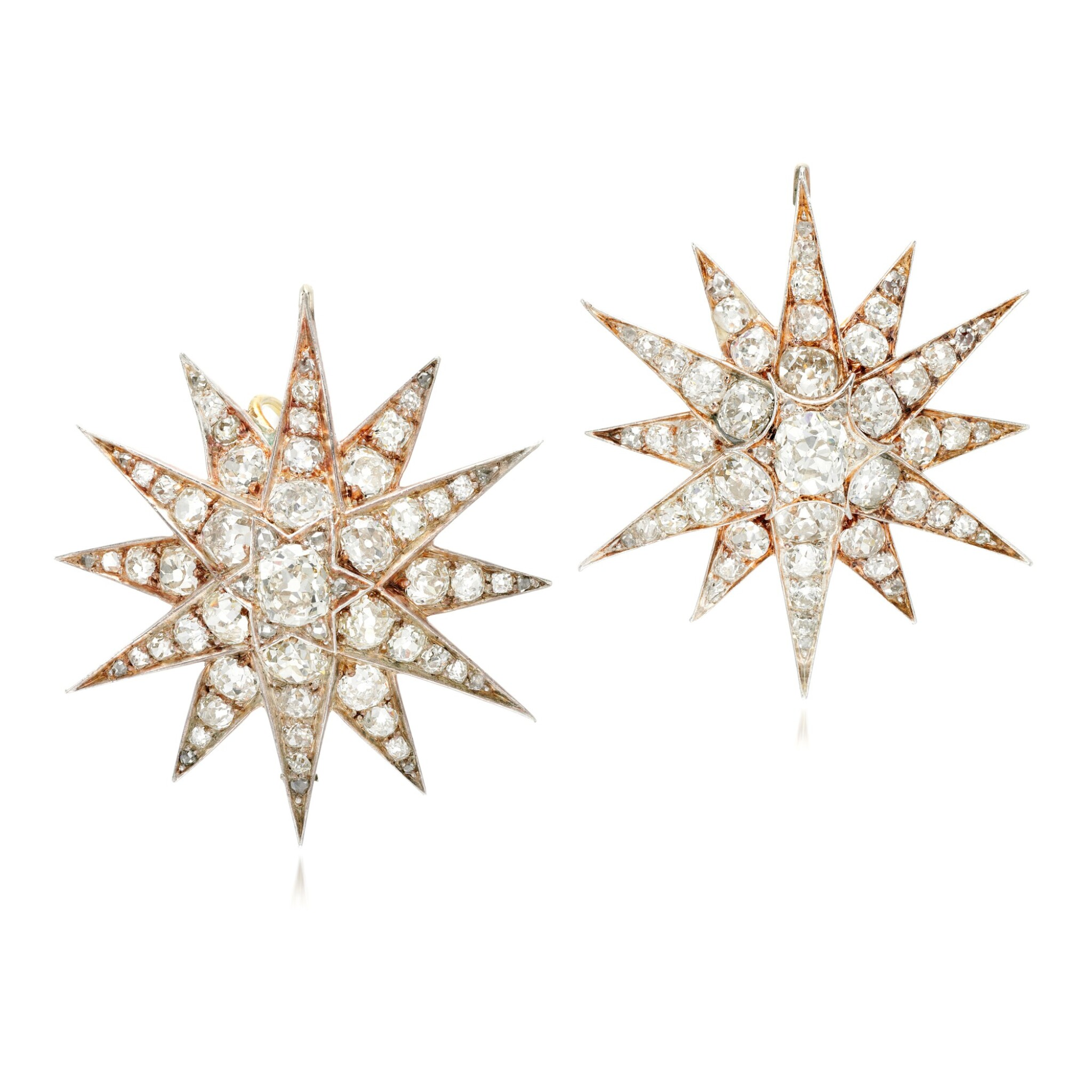 View full screen - View 1 of Lot 89. Pair of diamond earrings/pendants, late 19th century.