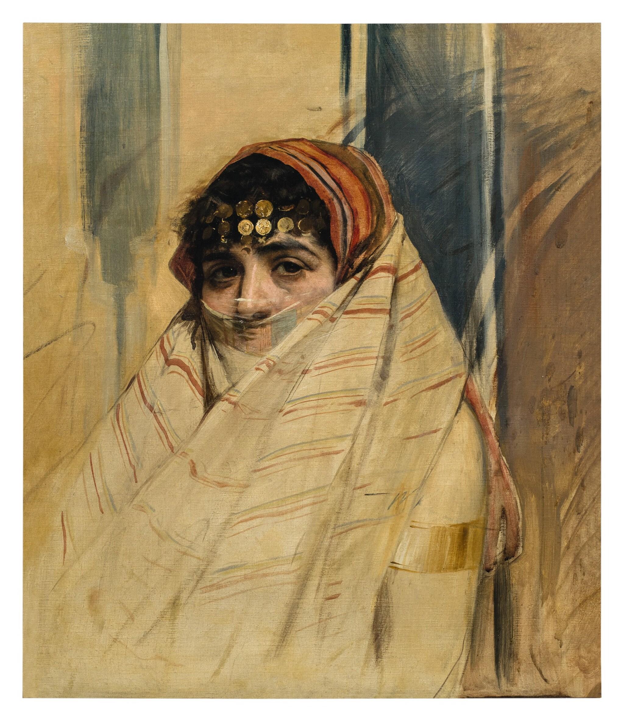View full screen - View 1 of Lot 135. WOJCIECH KOSSAK     PORTRAIT OF A VEILED WOMAN.