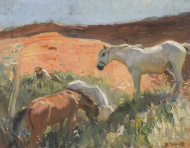 View 1. Thumbnail of Lot 176. SIR ALFRED JAMES MUNNINGS, P.R.A., R.W.S., P.R. | GRAVEL PIT IN SUFFOLK.