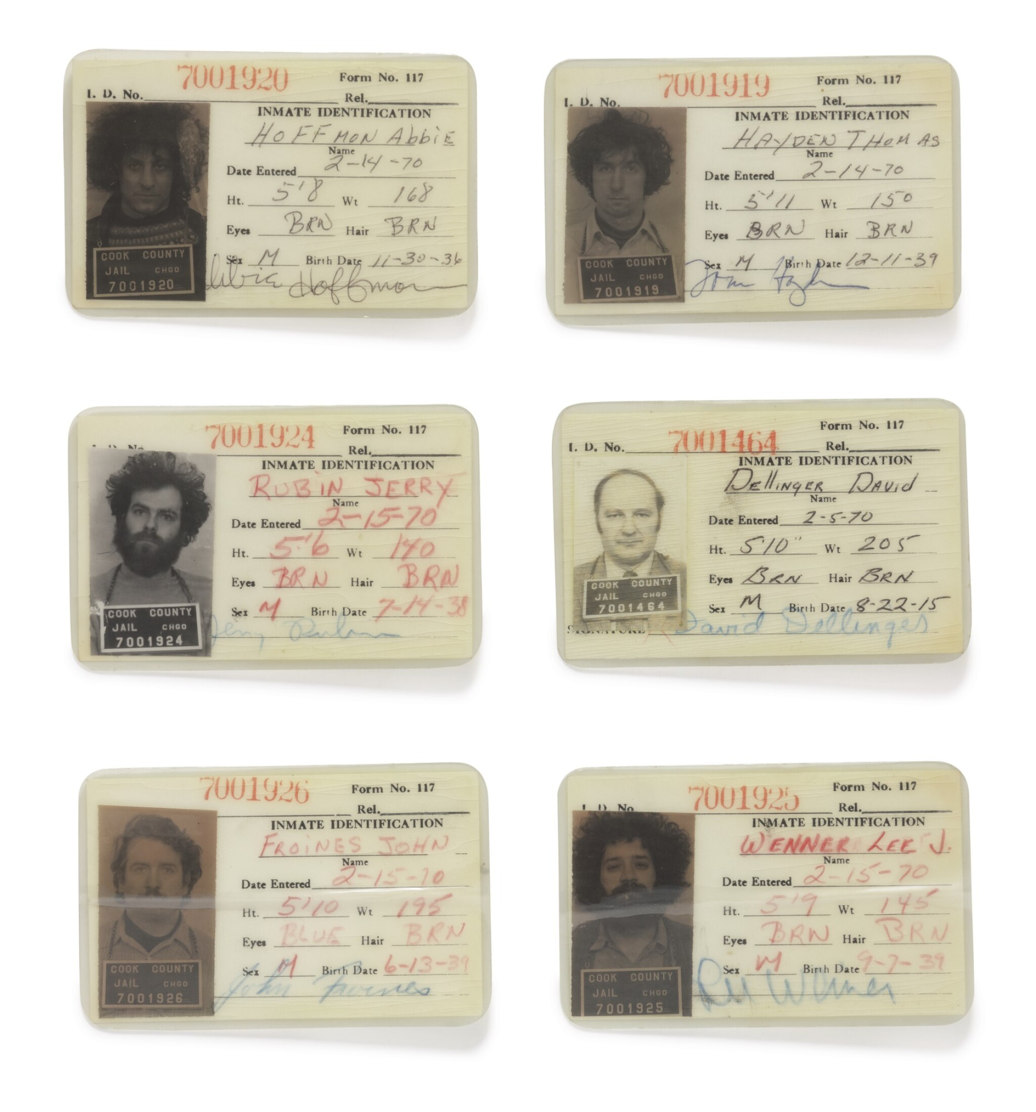 View full screen - View 1 of Lot 125. [THE CHICAGO SEVEN]    Cook County Jail identification cards depicting six members of the Chicago Seven, anti-war activists charged in connection to anti-war protests at the 1968 Democratic National Convention.