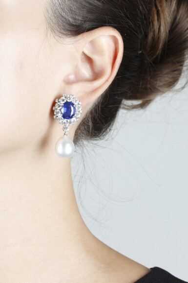View 4. Thumbnail of Lot 98. PAIR OF SAPPHIRE, CULTURED PEARL AND DIAMOND EARRINGS.