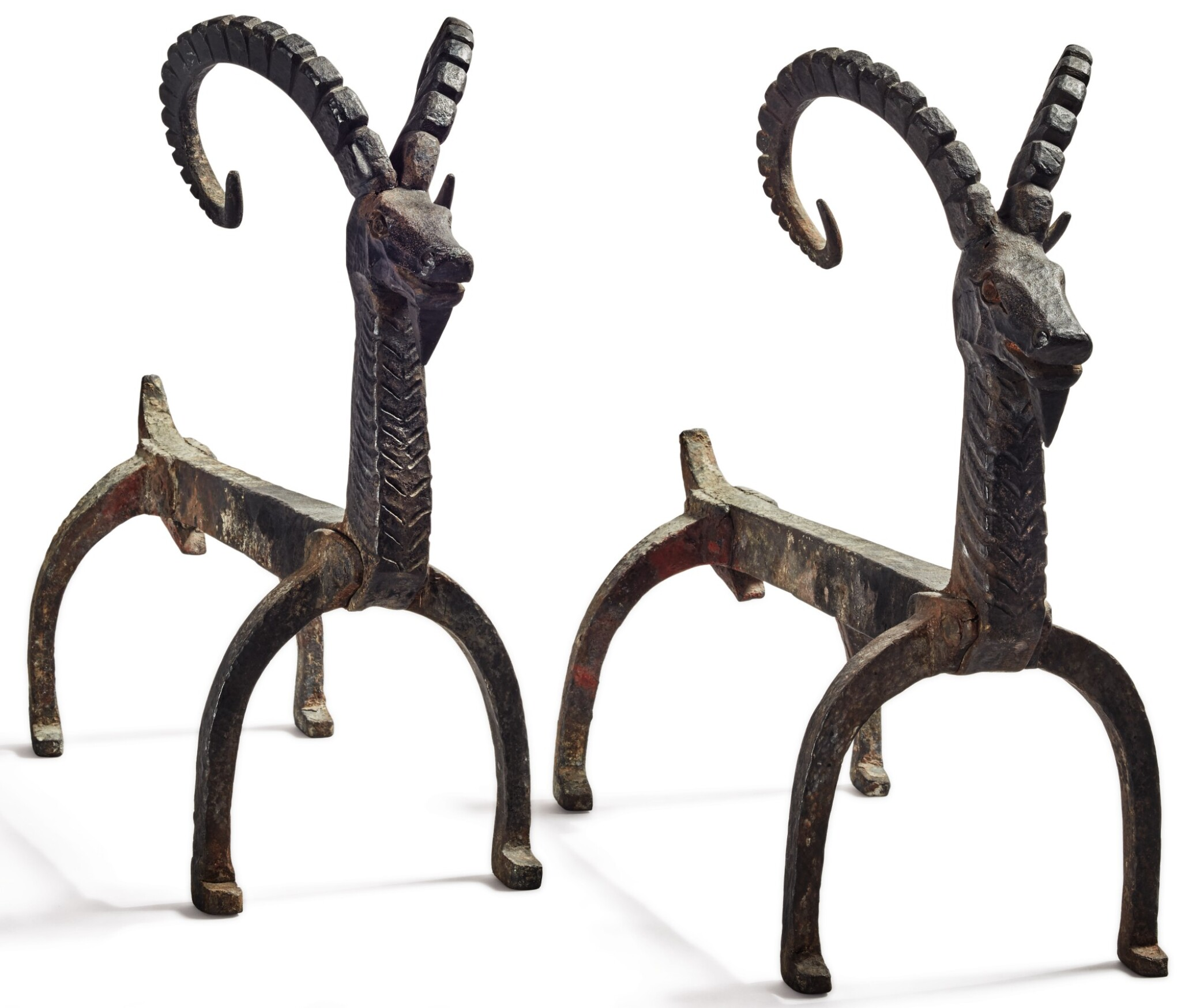 View full screen - View 1 of Lot 1489.  FINE PAIR OF WROUGHT IRON RAM ANDIRONS, CIRCA 1920.
