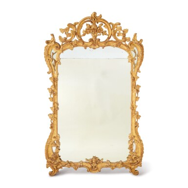 A LOUIS XV CARVED GILTWOOD MIRROR, MID-18TH CENTURY