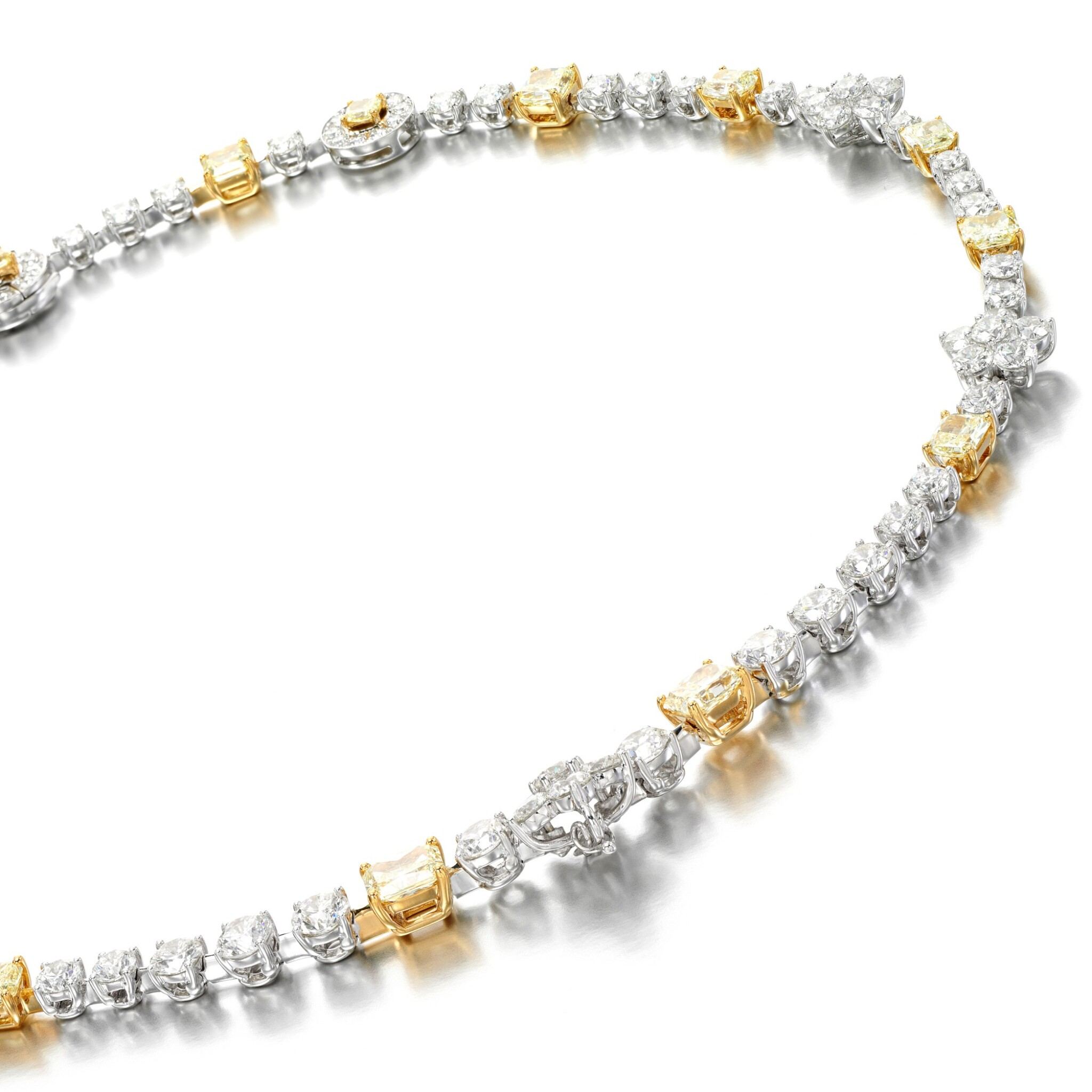 View full screen - View 1 of Lot 18. Coloured diamond and diamond necklace.