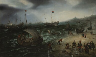 View 1. Thumbnail of Lot 31. The fishing fleet coming ashore at Scheveningen, their unloaded catch displayed for sale, and a whaler and a man o' war in the offing | 《在席凡寧根泊岸的漁船,漁夫卸載漁獲,海面上的捕鯨船和戰艦》.