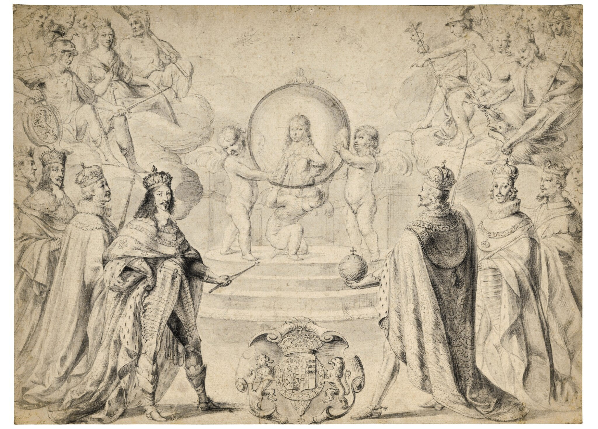 View full screen - View 1 of Lot 28. Allegorical scene of Monarchs, including Louis XIII of France, celebrating the accession to the Duchy of Savoy of Charles Emmanuel II, Prince of Piedmont, in 1638.