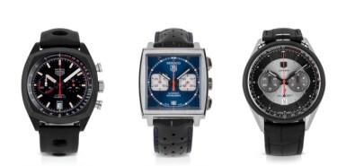 TAG HEUER | THREE STAINLESS STEEL AND PVD-COATED TITANIUM CHRONOGRAPH WRISTWATCHES CIRCA 2004, 2013 AND 2016