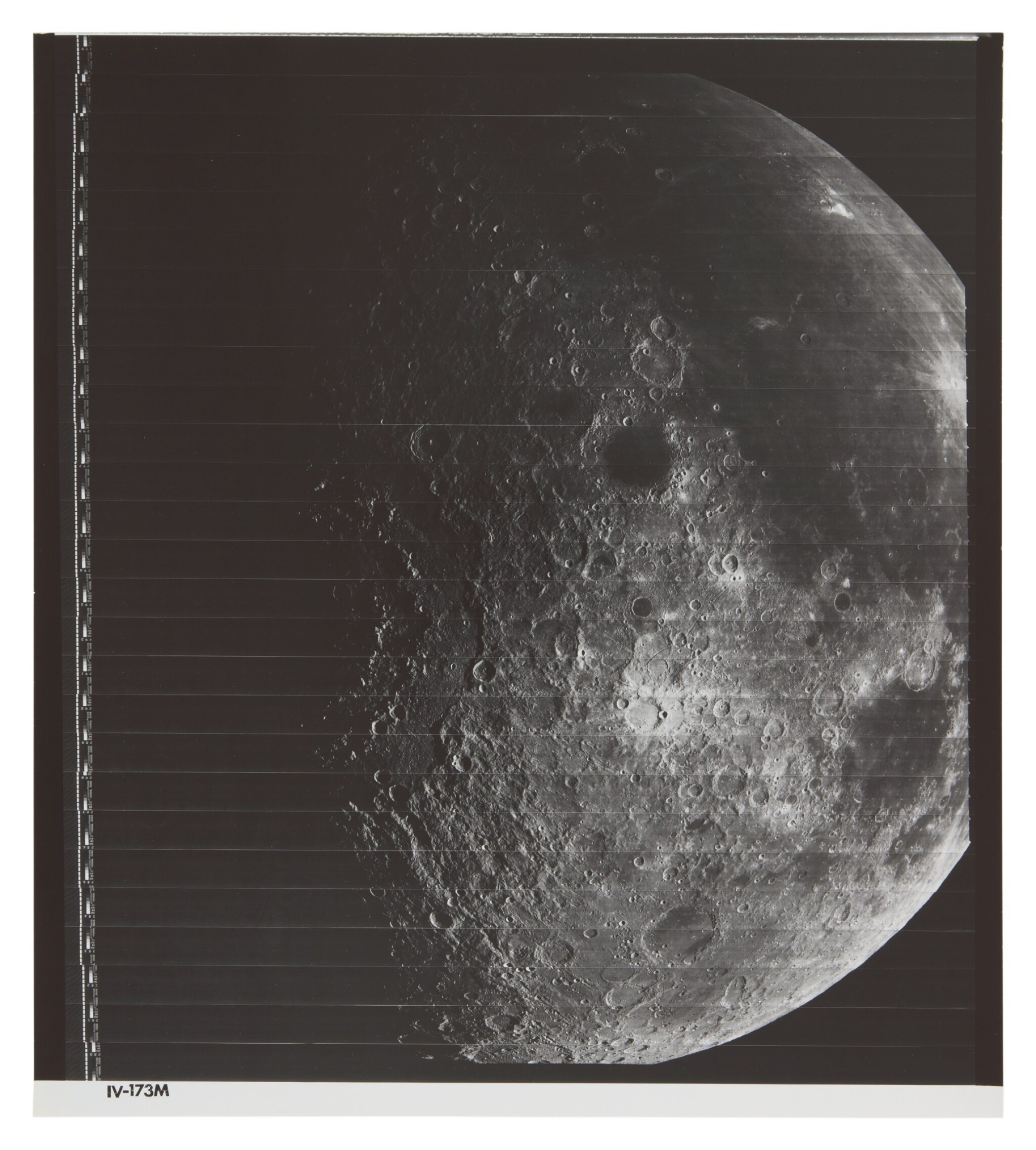 LUNAR ORBITER IV. NEARSIDE OF THE MOON, WITH MARE ORIENTALE, GRAMALDI CRATER, AND OCEANUS PROCELLARUM, 1976