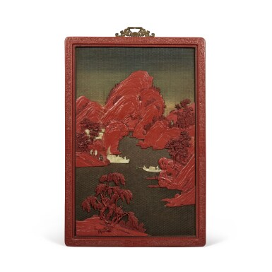View 2. Thumbnail of Lot 232. A pair of large embellished carved wood polychrome lacquer panels, Qing dynasty, 18th / 19th century   清十八 / 十九世紀 木雕罩漆鑲玉石山水人物圖大掛屏一對.