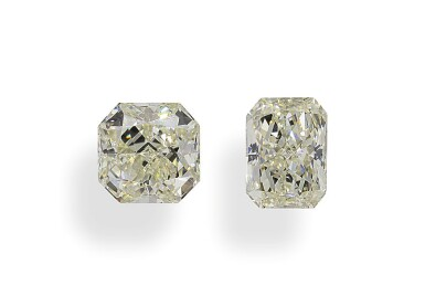 A Pair of 1.05 and 1.04 Carat Cut-Cornered Modified Brilliant-Cut Diamonds, N Color, VS2 and SI1 Clarity