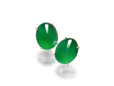 View 7. Thumbnail of Lot 1858. Pair of Imperial Green Jadeite Earrings | 天然「帝王綠」翡翠耳環一對.