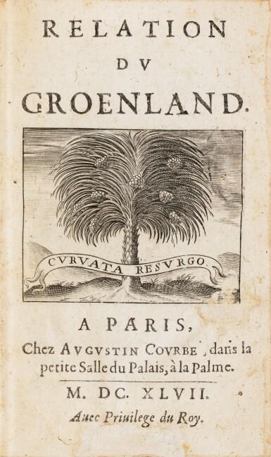 View 3. Thumbnail of Lot 164. LA PEYRÈRE. Relation du Groenland. Paris, Augustin Courbé, 1647. Reliure du XIXe. Edition originale. .