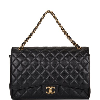 View 7. Thumbnail of Lot 60. Chanel Quilted Maxi Classic Double Flap Bag of Black Caviar Leather with Gold Hardware.
