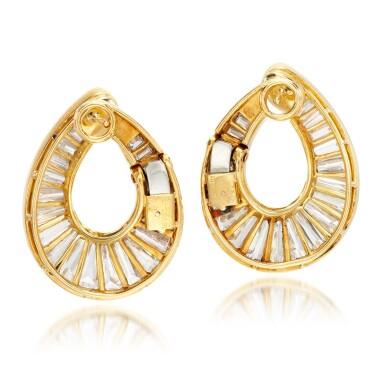 View 3. Thumbnail of Lot 70. Pair of diamond earrings.