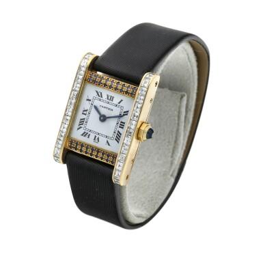 View 2. Thumbnail of Lot 305. A yellow gold, diamond and sapphire-set rectangular wristwatch, Circa 1985.