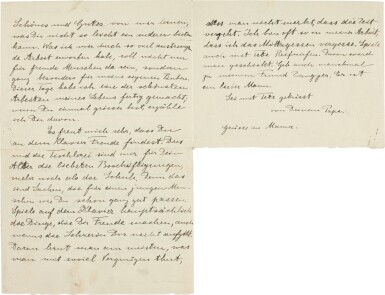 View 2. Thumbnail of Lot 19. Albert Einstein   Autograph letter signed, to his son Albert, 4 November [1915].