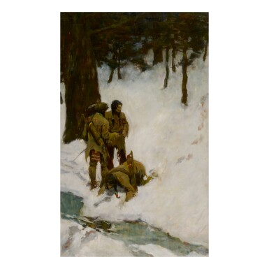 N. C. WYETH | UNTITLED (THREE INDIANS AT A STREAM IN SNOWY WOODS)